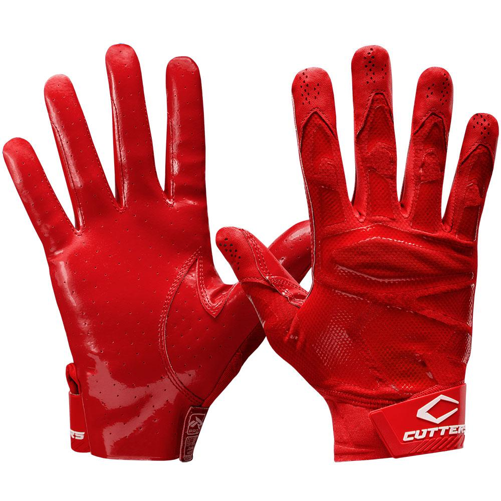 Red Rev Pro 4.0 Solid Football Receiver Gloves - Front and Back View