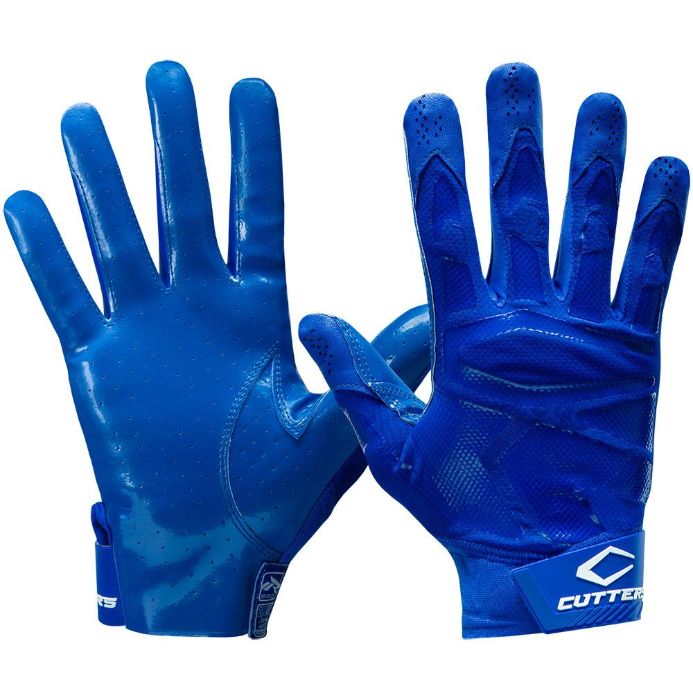 Blue or Royal Rev Pro 4.0 Solid Football Receiver Gloves - Front and Back View