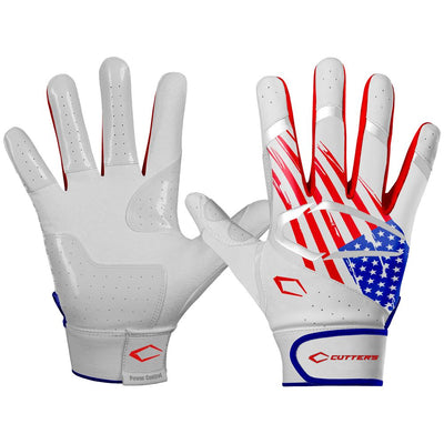 White USA Flag Power Control 2.0 Baseball Gloves - Palm and Back of Glove View