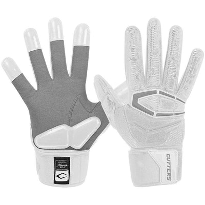 Padded White Force Lineman 3.0 Football Gloves – Image of Back of Glove and Palm