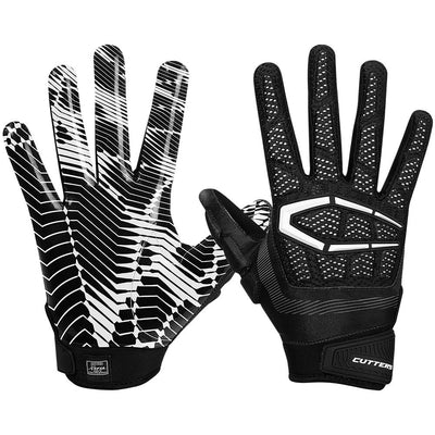 Padded Black Gamer 3.0 Football Gloves for Defensive and Offensive Lineman – Image of Back of Hand and Palm