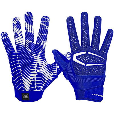 Padded Blue Royal Gamer 3.0 Football Gloves for Defensive and Offensive Lineman – Image of Back of Hand and Palm