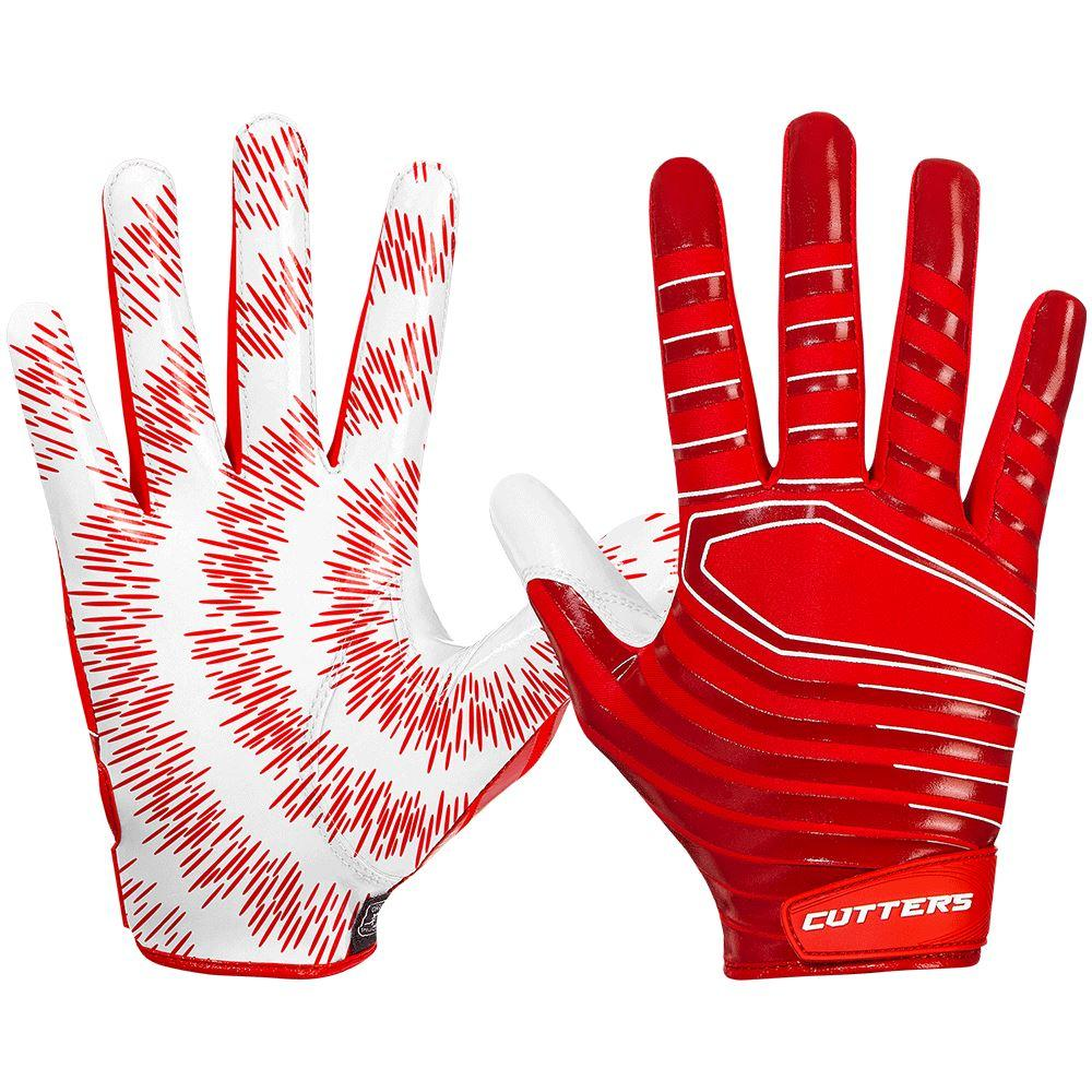Red Rev 3.0 Football Receiver Gloves - Image of Back of Hand and Palm Area