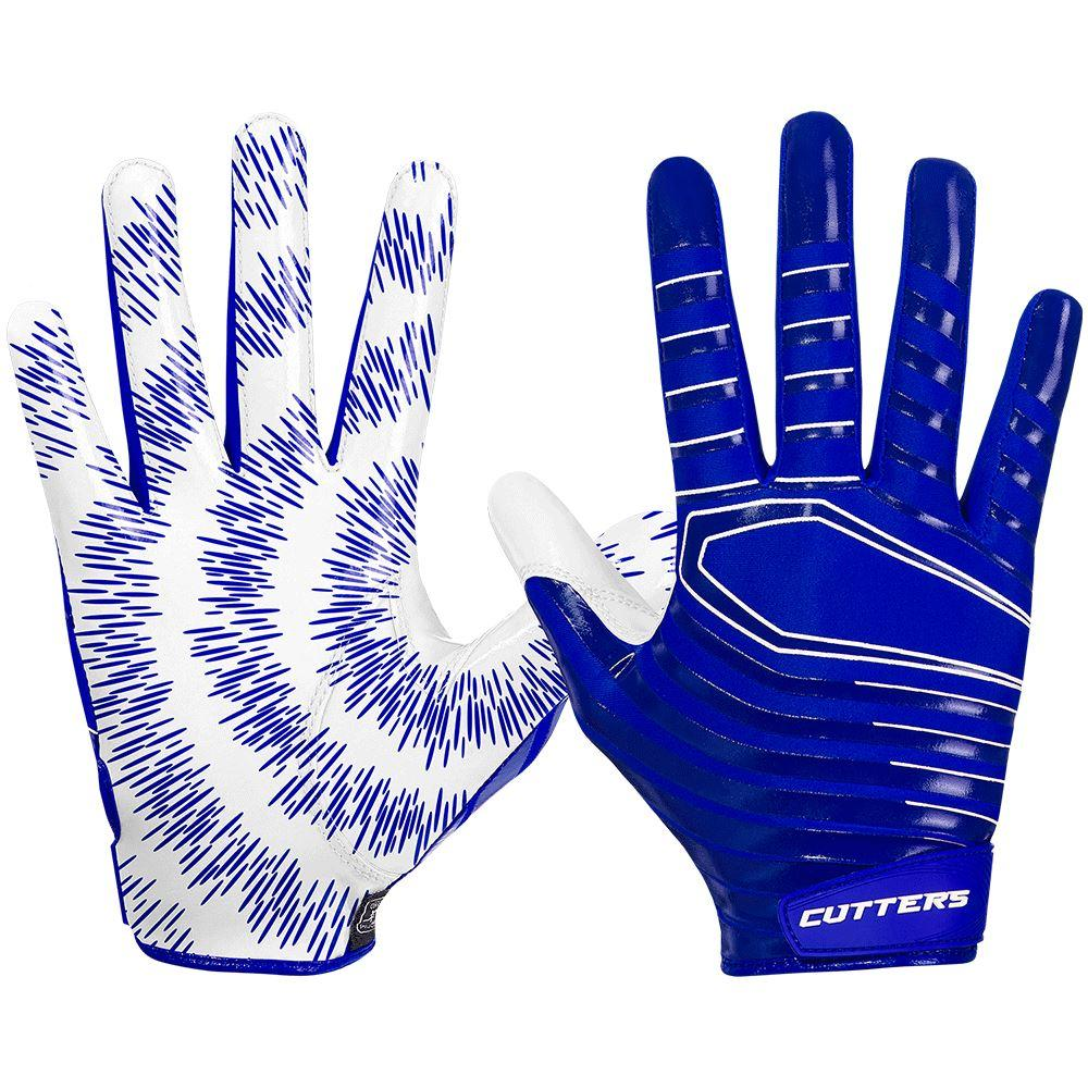 Blue Rev 3.0 Football Receiver Gloves - Image of Back of Hand and Palm Area