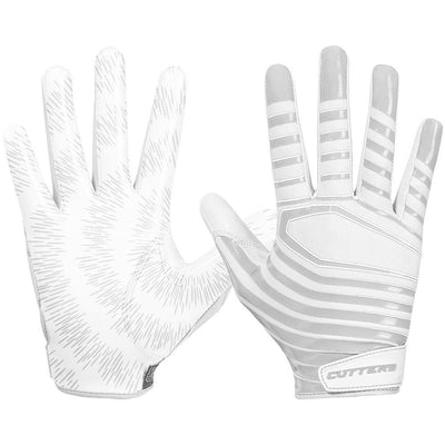 White Rev 3.0 Football Receiver Gloves - Image of Back of Hand and Palm Area
