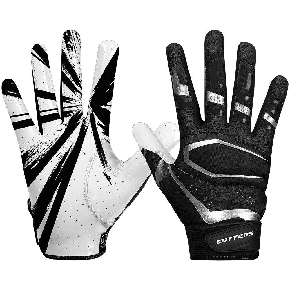 Black Rev Pro 3.0 Football Receiver Gloves - Image of Back of Hand and Palm Area