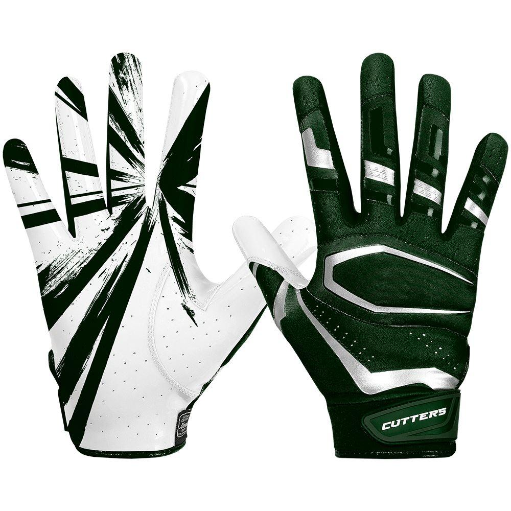 Dark Green Rev Pro 3.0 Football Receiver Gloves - Image of Back of Hand and Palm Area
