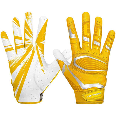 Yellow Gold Rev Pro 3.0 Football Receiver Gloves - Image of Back of Hand and Palm Area