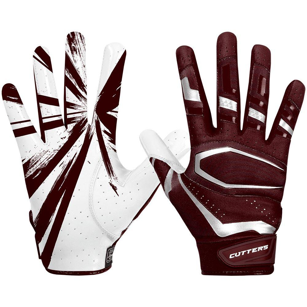 Maroon Red Rev Pro 3.0 Football Receiver Gloves - Image of Back of Hand and Palm Area