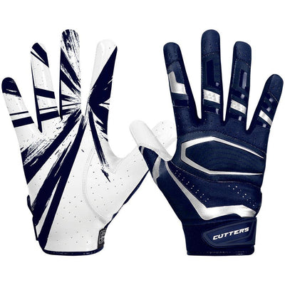 Navy Blue Rev Pro 3.0 Football Receiver Gloves - Image of Back of Hand and Palm Area