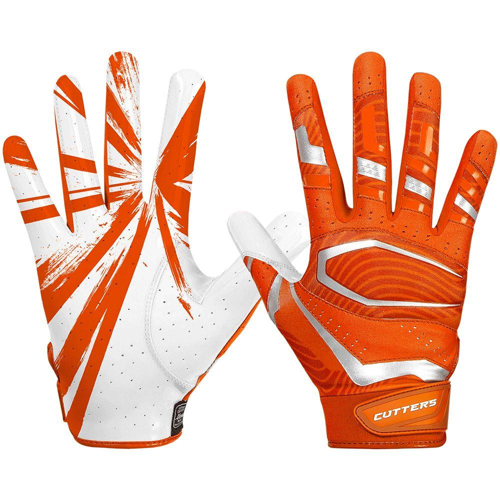 Orange Rev Pro 3.0 Football Receiver Gloves - Image of Back of Hand and Palm Area