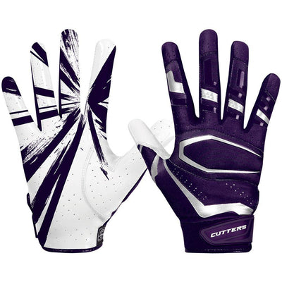 Purple Rev Pro 3.0 Football Receiver Gloves - Image of Back of Hand and Palm Area