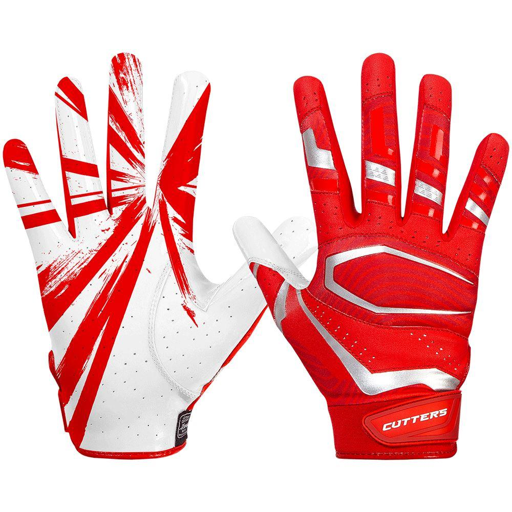 Red Rev Pro 3.0 Football Receiver Gloves - Image of Back of Hand and Palm Area