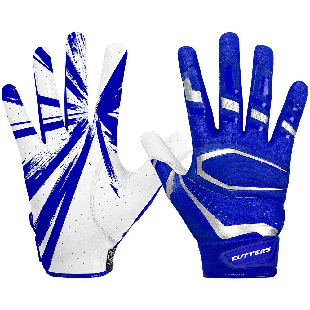 Blue-Royal Rev Pro 3.0 Football Receiver Gloves - Image of Back of Hand and Palm Area