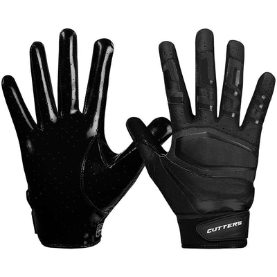 Black Rev Pro 3.0  Solid Football Receiver Gloves - Image of Back of Hand and Palm Area