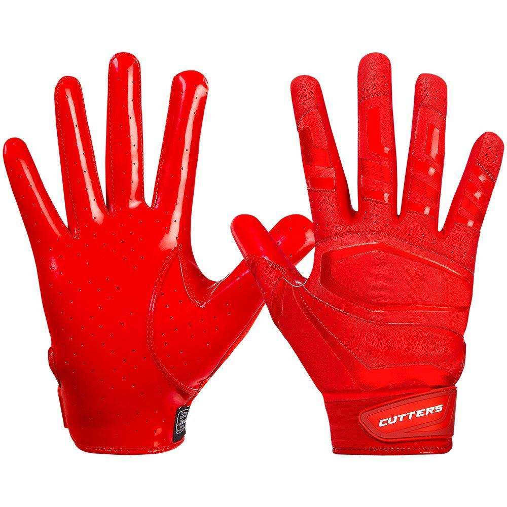 Red Rev Pro 3.0  Solid Football Receiver Gloves - Image of Back of Hand and Palm Area