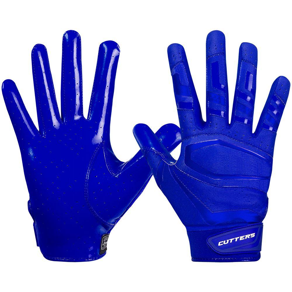 Blue Royal Rev Pro 3.0  Solid Football Receiver Gloves - Image of Back of Hand and Palm Area
