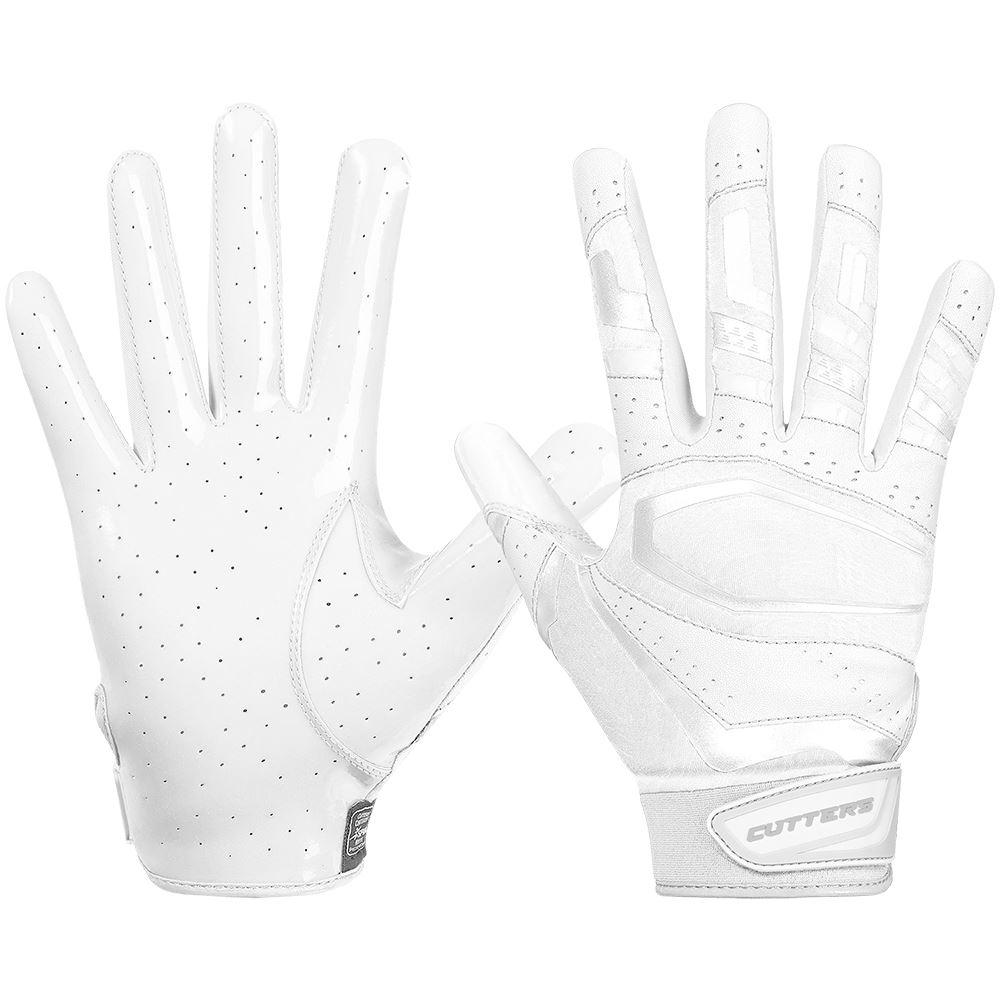 White Rev Pro 3.0  Solid Football Receiver Gloves - Image of Back of Hand and Palm Area