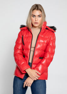 Women's Striking Puffer Down Red Leather Jacket with Fur-Womens Leather Jacket-Fadcloset-Small-Red-FADCLOSET CA