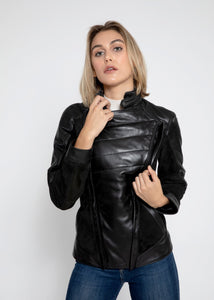 Womens Cosette Dual Panel Leather & Suede Jacket-Womens Leather Jacket-Fadcloset-XS-BLACK-FADCLOSET CA