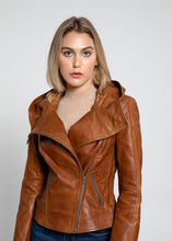 Load image into Gallery viewer, Sasha High Fashion Womens Hooded Leather Jacket-Womens Leather Jacket-Fadcloset-XS-Brown-FADCLOSET CA