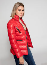 Load image into Gallery viewer, Women's Striking Puffer Down Red Leather Jacket with Fur-Womens Leather Jacket-Fadcloset-Small-Red-FADCLOSET CA