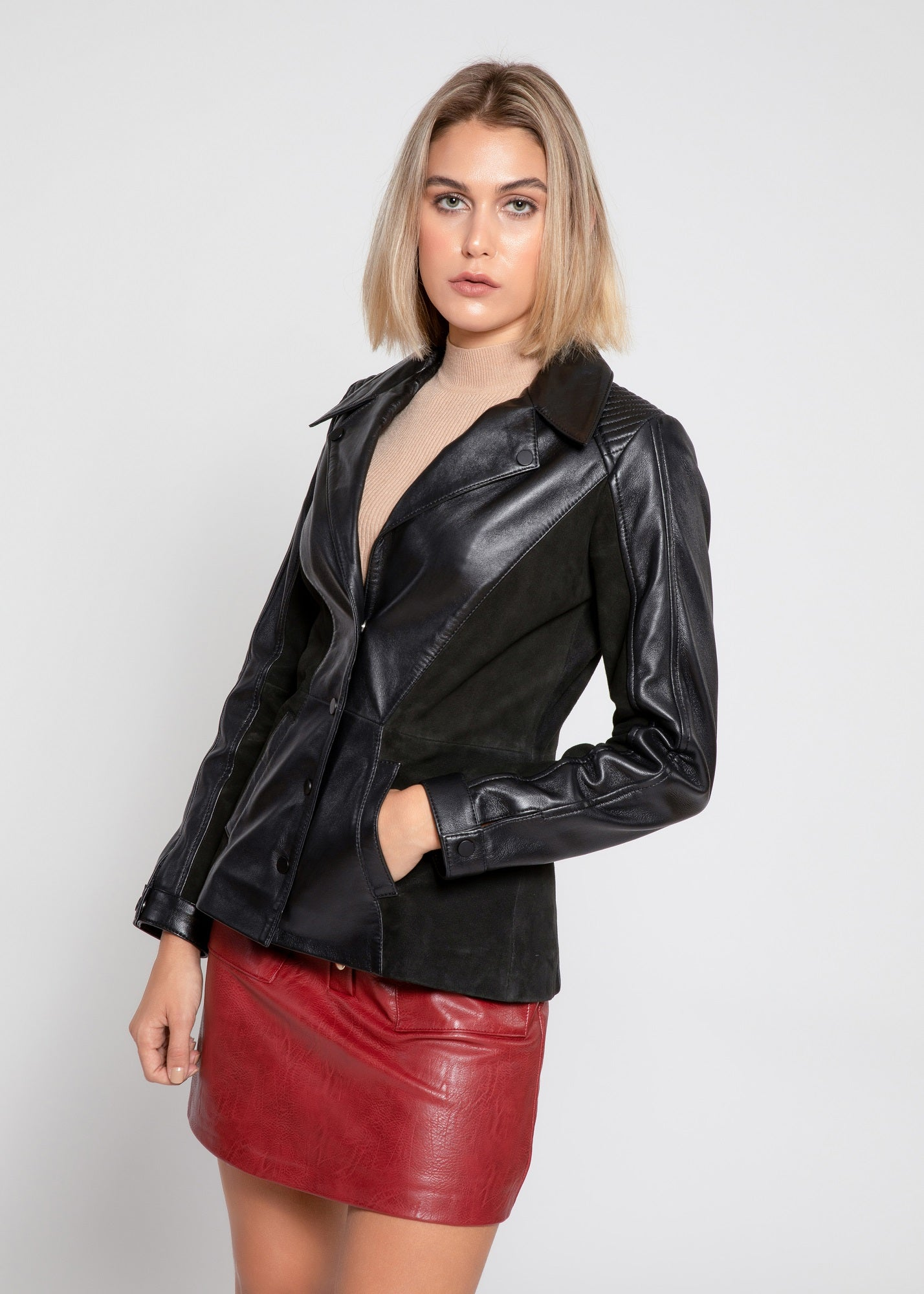 Womens Myrcella Suede Leather Blazer-Womens Leather Jacket-Fadcloset-XS-BLACK-FADCLOSET CA