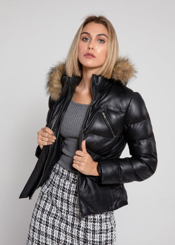 Women's Black Puffer Winter Down Leather Jacket with Fur-Womens Leather Jacket-Fadcloset-Small-Black-FADCLOSET CA