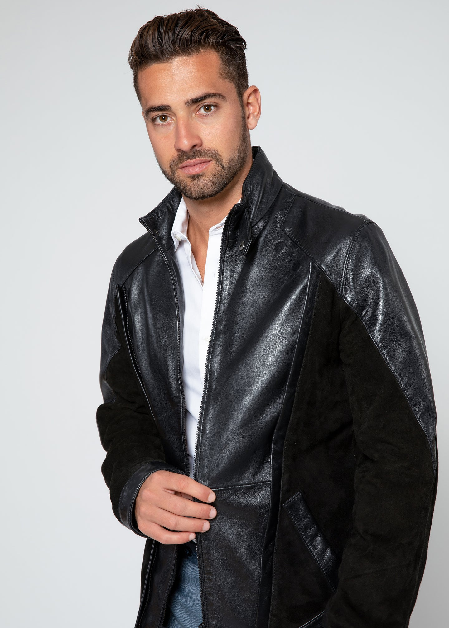 Men's Liam Dual Panel Leather Suede Jacket-Leather Jacket-Fadcloset-FADCLOSET CA