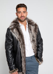 Men's Jayden Shearling Faux Fur Leather Jacket-Leather Coat-Fadcloset-FADCLOSET CA
