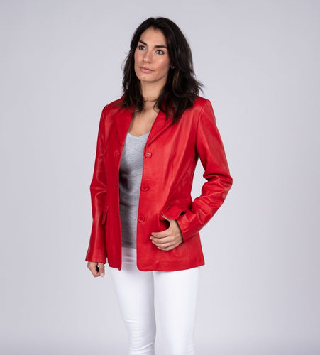 Womens Lipstick Red Hot 3 Button Leather Blazer-Womens Leather Blazer-Fadcloset-XS-Red-FADCLOSET CA