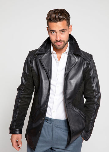 Men's Tormund Suede Leather Blazer-Mens Leather Blazer-Fadcloset-XS-BLACK-FADCLOSET