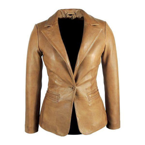Womens Tapered Tan Leather Blazer - Awesome Lambskin-Womens Leather Blazer-Fadcloset-XS-Tan-FADCLOSET CA