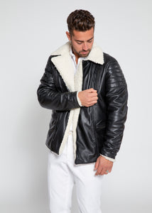 Men's Cosmo Shearling Curly Fur Leather Jacket-Leather Jacket-Fadcloset-FADCLOSET CA
