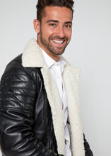 Load image into Gallery viewer, Men's Cosmo Shearling Curly Fur Leather Jacket-Leather Jacket-Fadcloset-FADCLOSET CA