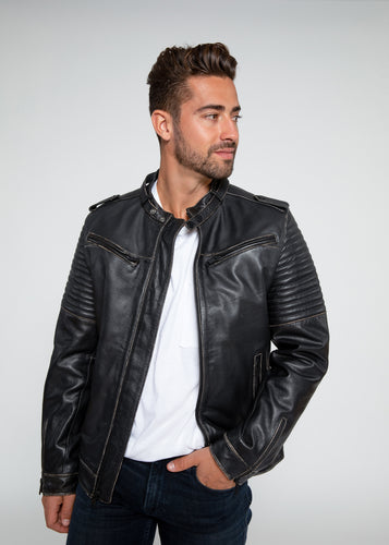 Mens Stark Distressed Leather Jacket-Leather Jacket-Fadcloset-FADCLOSET CA