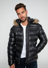 Load image into Gallery viewer, Men's Crimson Puffer Winter Down Leather Jacket with Fur-Leather Jacket-Fadcloset-FADCLOSET CA