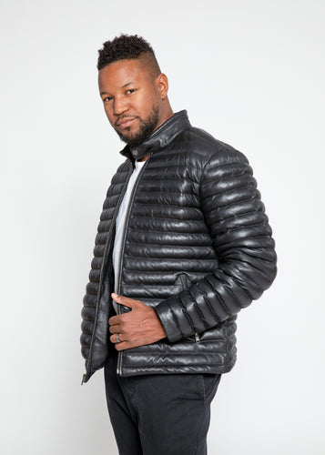 Men's Ultima Puffer Black Down Leather Jacket-Leather Jacket-Fadcloset-FADCLOSET CA