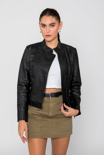Women's Skylar Biker PU Faux Leather Jacket-Women Faux Leather Jacket-FADCLOSET CA