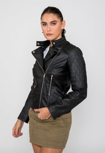 Women's Scarlett Biker PU Faux Leather Jacket-Women Faux Leather Jacket-FADCLOSET CA