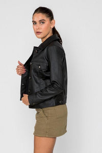Women's Chloe Trucker PU Faux Leather Jacket-Women Faux Leather Jacket-FADCLOSET CA