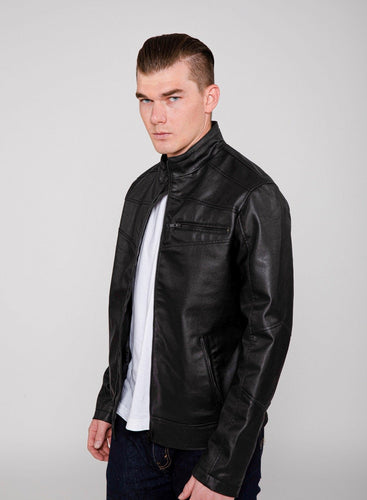 Men's Eagle PU Faux Leather Biker Jacket-Leather Jacket-FADCLOSET CA