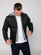Load image into Gallery viewer, Men's Butch Hooded PU Faux Leather Moto Jacket-Leather Jacket-FADCLOSET CA