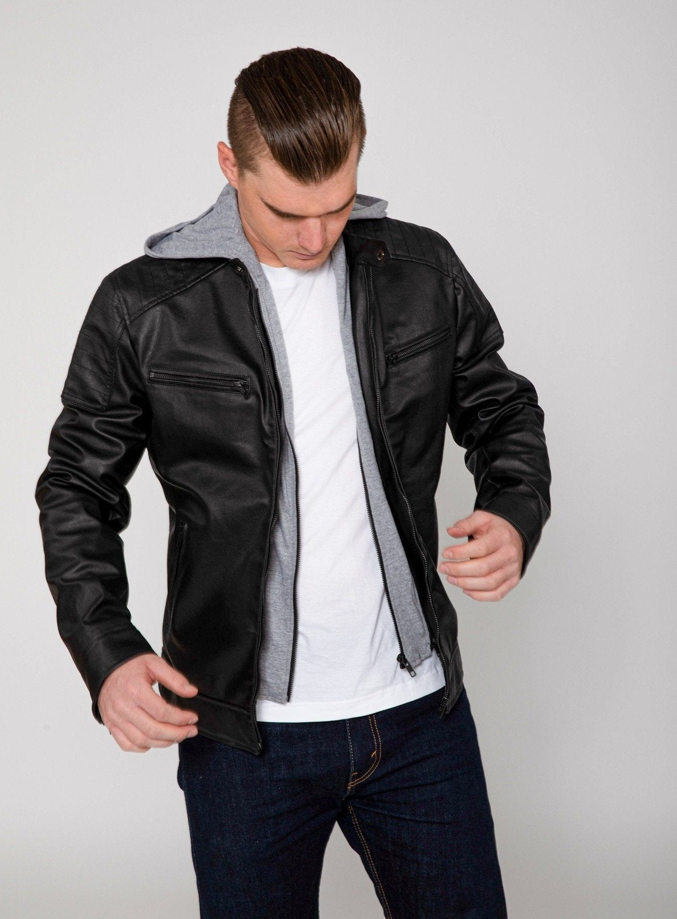 Men's Butch Hooded PU Faux Leather Moto Jacket-Leather Jacket-FADCLOSET CA