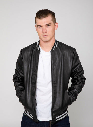 Men's Jett Varsity Lightweight PU Faux Leather Bomber Jacket-Leather Jacket-FADCLOSET CA