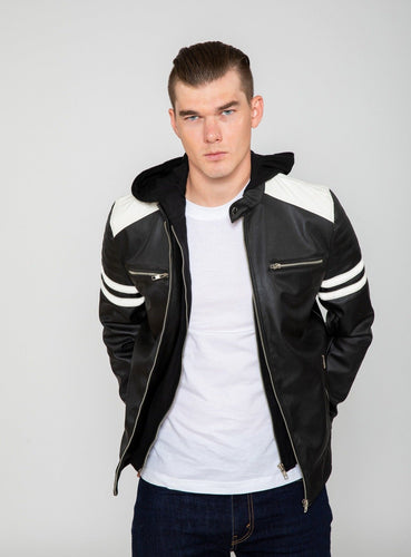 Men's Hawk Hooded PU Faux Leather Moto Jacket-Leather Jacket-FADCLOSET CA