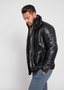 Men's Tiberius Premium Lambskin Leather Coat with Fur-Leather Coat-Fadcloset-FADCLOSET CA