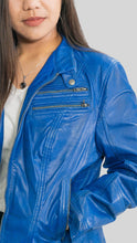 Load image into Gallery viewer, Ladies Elektra Washed Leather Jacket Spring Blue-Womens Leather Jacket-Fadcloset-XS-Blue-FADCLOSET CA