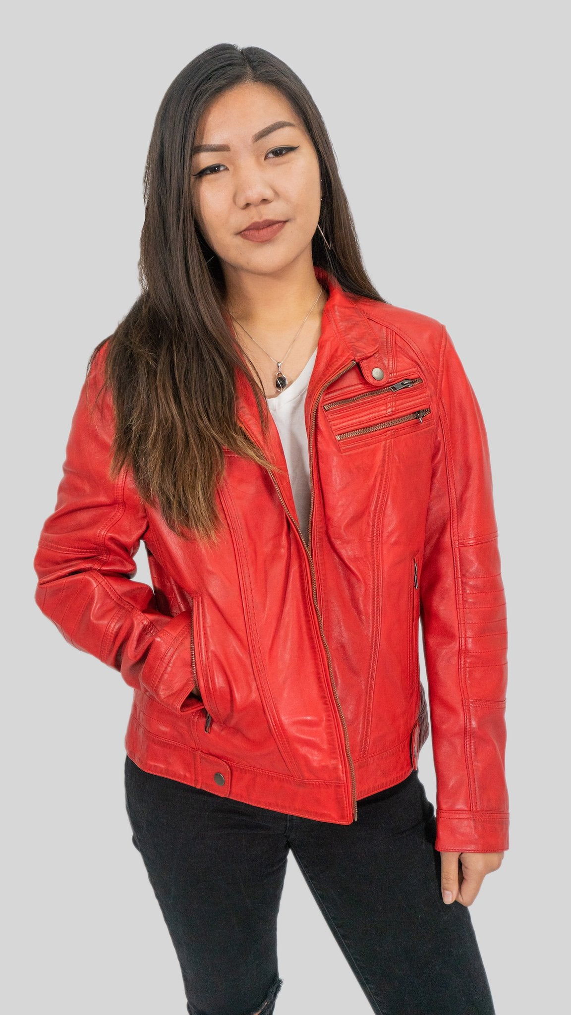 Ladies Elektra Washed Leather Jacket Spring Red-Womens Leather Jacket-Fadcloset-XS-Red-FADCLOSET CA