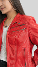Load image into Gallery viewer, Ladies Elektra Washed Leather Jacket Spring Red-Womens Leather Jacket-Fadcloset-XS-Red-FADCLOSET CA